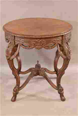 CARVED 1930'S FRENCH STYLE PARLOR TABLE