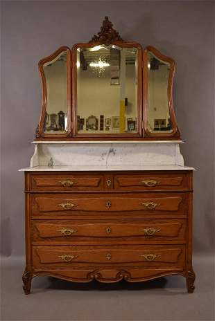 MARBLE TOP OAK CHEST WITH MIRRORED TOP