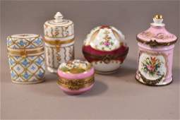 5 SMALL LIMOGES PORCELAIN COVERED BOXES