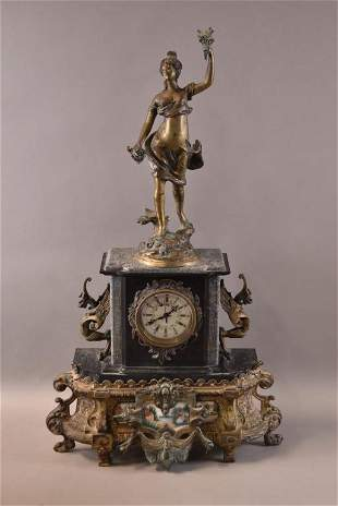 GILT METAL AND MARBLE MANTLE CLOCK