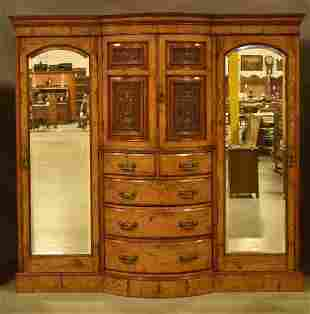 LARGE FRENCH VICTORIAN BURLED ARMOIRE
