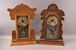 2 AMERICAN OAK KITCHEN CLOCKS