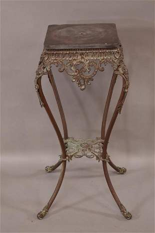 BRASS PLANT STAND WITH STONE TOP