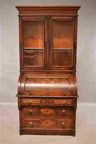 VICTORIAN CYLINDER ROLL DESK WITH BOOKCASE TOP