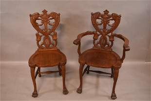 2 1900'S AM. OAK CARVED GRIFFIN CHAIRS