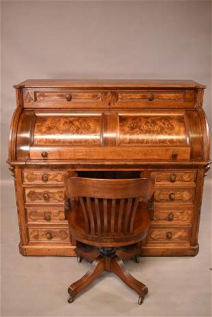 VICTORIAN BURLED WOOD CYLINDER ROLL DESK & CHAIR