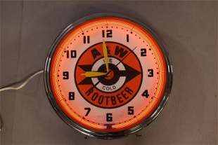 A & W ROOTBEER NEON CLOCK