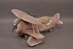 CONTEMPORARY RED BARON AIRPLANE PEDAL CAR