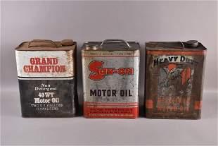 THREE 2 GALLON OIL CANS