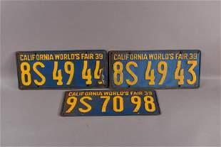 3 1939 WORLD'S FAIR LICENSE PLATES