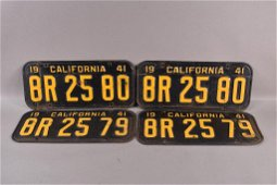 2 PAIRS OF 1941 CALIFORNIA LICENSE PLATES