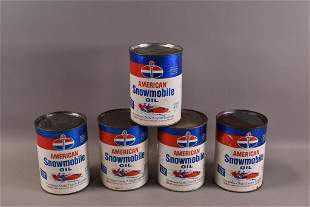 5 AMERICAN SNOWMOBILE OIL PAPER CANS