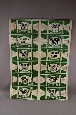 QUAKER STATE MOTOR OIL UNCUT SHEET OF CANS