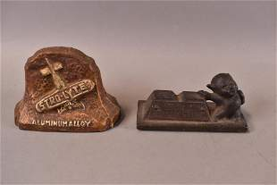 2 CAST METAL PAPERWEIGHTS