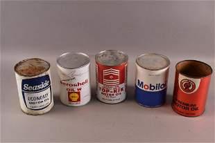 FIVE 1 QUART OIL PAPER CANS