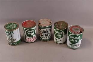 FIVE QUAKER STATE 1 QUART OIL CANS