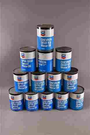 13 CHEVRON 1 QUART OIL PAPER CANS