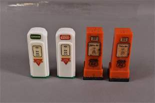 2 PAIR OF GAS PUMP SALT & PEPPER SHAKERS
