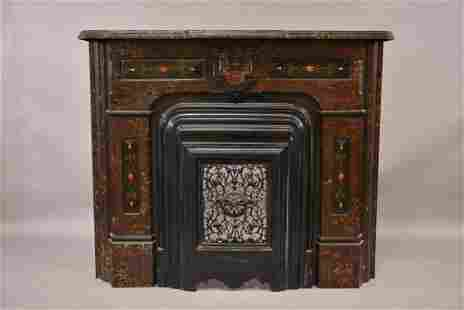 VICTORIAN CAST METAL & IRON FIREPLACE MANTLE