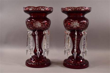PAIR OF RUBY RED CUT TO CLEAR GLASS LUSTERS