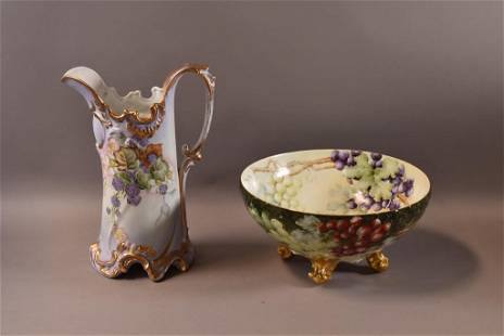 2 PIECES OF HAND PAINTED PORCELAIN