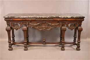 1920'S HEAVILY CARVED WALNUT MARBLE TOP BUFFET