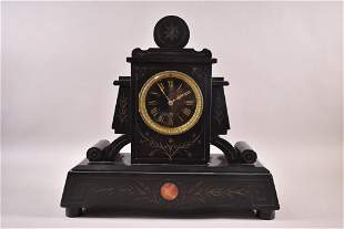 1900'S FRENCH SLATE MANTLE CLOCK
