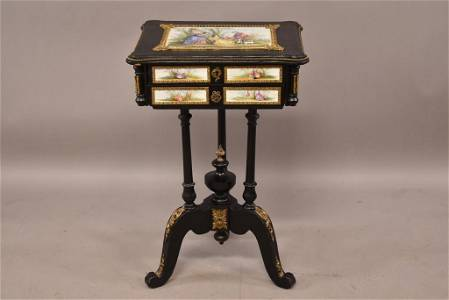 FRENCH EBONIZED, BRONZE & PORCELAIN SEWING STAND