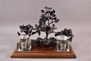 WOOD & METAL FLORAL DOUBLE INKWELL