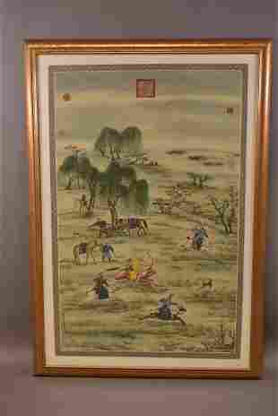 LARGE CHINESE PAINTING ON SILK