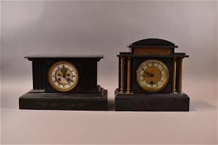 2 1900'S FRENCH SLATE MANTLE CLOCKS