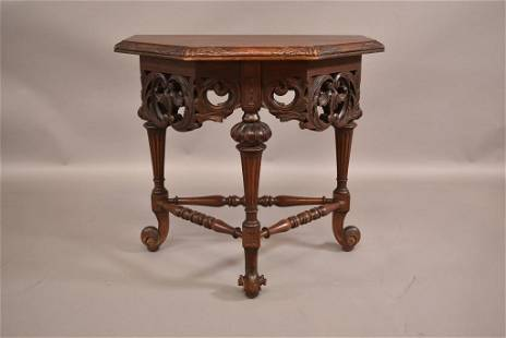 1920'S HIGHLY CARVED WALNUT SIDE TABLE
