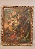 LARGE 19TH CENTURY STILL LIFE IN CARVED FRAME