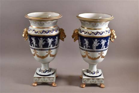 PAIR OF LARGE HAND PAINTED URNS