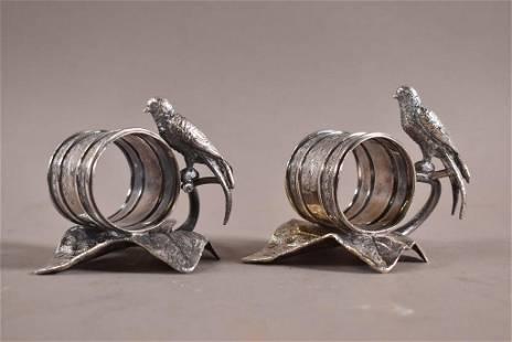PAIR OF VICTORIAN SILVERPLATED BIRD NAPKIN RINGS