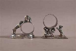 2 DOG DECORATED VICTORIAN SILVERPLATE NAPKIN RINGS