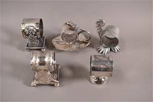 5 VICTORIAN SILVERPLATED NAPKIN RINGS