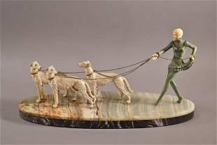 ART DECO LADY WALKING DOGS STATUE