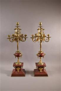 PAIR OF FRENCH BRONZE AND MARBLE CANDELABRAS