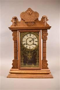 1900'S AM. OAK KITCHEN CLOCK