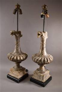 PAIR OF LARGE MARBLE TABLE LAMPS