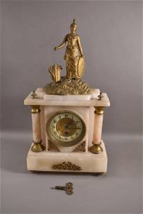 1900'S ONYX MANTLE CLOCK WITH FIGURE