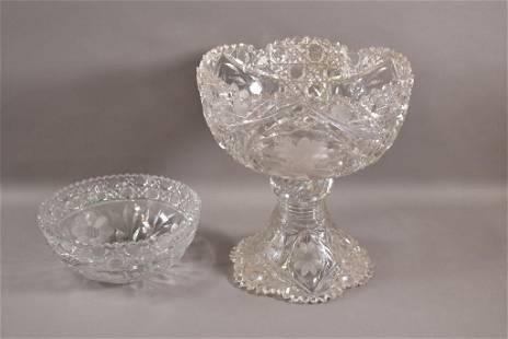 CUT GLASS PUNCH BOWL & CENTER BOWL
