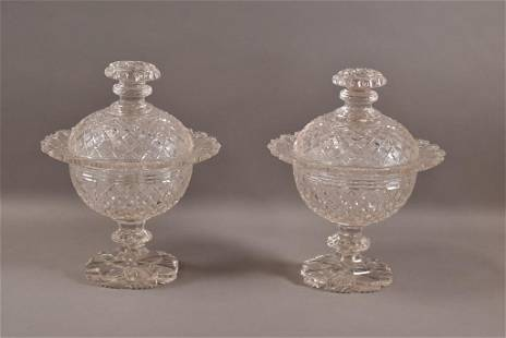 PAIR OF CUT GLASS COVERED FOOTED DISHES