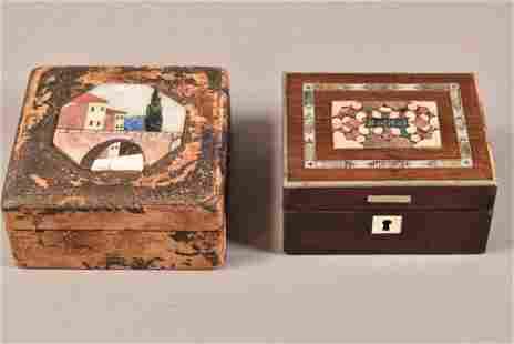 TWO PIETRA DURA DRESSER BOXES