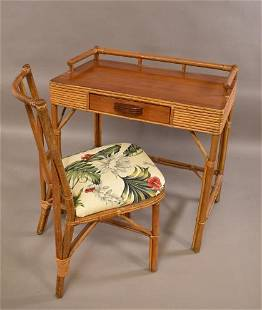 VINTAGE RATTAN DESK AND CHAIR