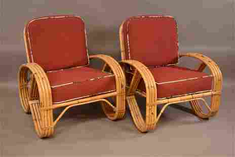 PAIR 1950'S 4 BAND RATTAN ARM CHAIRS