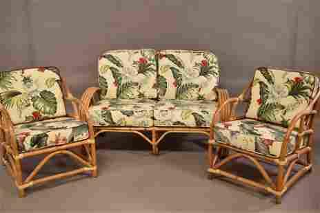 1950'S 3 PIECE RATTAN LIVING ROOM SET