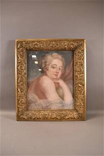 18TH CENTURY PASTEL PORTRAIT IN GOLD GILT FRAME