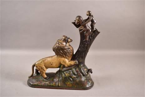 ANTIQUE LION & 2 MONKEYS C.I. MECHANICAL BANK